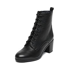 Joy&Peace/真美诗2016冬季专柜同款黑色牛皮女皮靴ZWZ36DD6