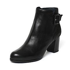Joy&Peace/真美诗冬季专柜同款黑色牛皮女皮靴ZV922DD6