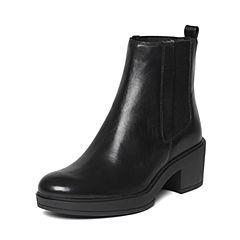 Joy&Peace/真美诗冬季专柜同款黑色牛皮女皮靴ZOR25DD6