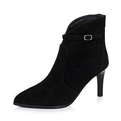 Joy&Peace/真美诗冬季专柜同款黑色羊皮女短靴(皮里)ZN335DD6