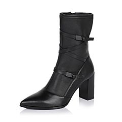 Joy&Peace/真美诗冬季专柜同款黑色时尚女皮靴中靴ZB757DZ6