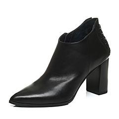 Joy&Peace/真美诗冬季专柜同款黑色牛皮女皮靴粗跟高跟低筒靴短靴ZB739DD6