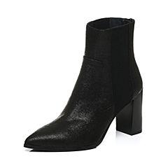 Joy&Peace/真美诗冬季专柜同款黑色羊皮女靴粗跟高跟尖头短筒靴ZB749DD6