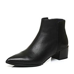 Joy&Peace/真美诗冬季黑色牛皮粗跟尖头侧拉链女皮靴短靴ZJ429DD6
