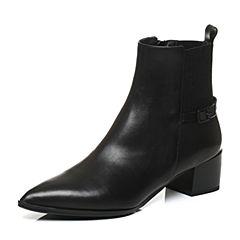 JoyPeace真美诗冬季专柜同款黑色牛皮女靴粗跟中跟短靴尖头靴子ZJ430DD6