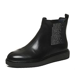 Joy&Peace/真美诗冬季专柜同款黑色牛皮女休闲靴时尚水钻短筒靴ZY122DD6