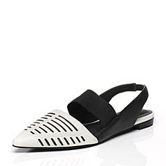Joy&Peace/真美诗春季专柜同款白/黑色牛皮女凉鞋ZE126AH6