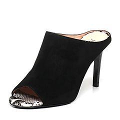 Joy&Peace/真美诗夏季专柜同款黑色羊绒皮女凉拖鞋ZE529BT6