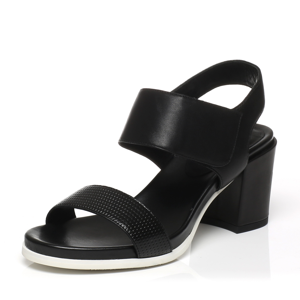 joypeace真美诗夏季专柜同款黑色女皮凉鞋zs303bl6