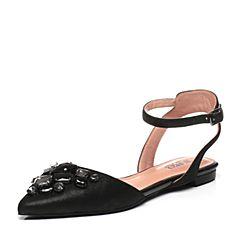 JoyPeace真美诗春季专柜同款黑色羊皮女凉鞋ZE112AK6
