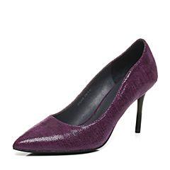 Joy&Peace/真美诗秋季专柜同款紫色羊皮优雅裂面纹路浅口女单鞋ZJ840CQ6