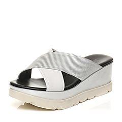 JoyPeace真美诗夏季银/白色羊皮坡跟女凉拖鞋ZF325BT7