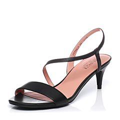 JoyPeace真美诗夏季黑色牛皮细跟女凉鞋YNL23BL7