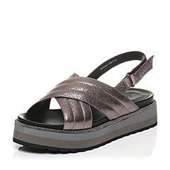 JoyPeace真美诗夏季专柜同款灰色牛皮坡跟女凉鞋ZS406BL7