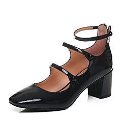 JoyPeace真美诗秋季专柜同款深兰色牛皮粗跟复古玛丽珍鞋女单鞋YNM15CQ7