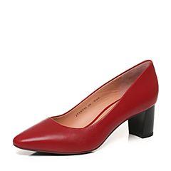 Joy&Peace/真美诗秋季专柜同款红色羊皮粗跟高跟简约通勤女单鞋YNP01CQ7
