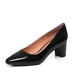 JoyPeace真美诗2017秋季专柜同款黑色漆牛皮粗跟中跟通勤女单鞋YNP02CQ7
