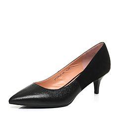 Joy&Peace/真美诗新款秋季专柜同款黑色细跟尖头女猫跟单鞋ZD422CQ7