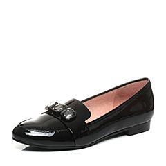 Joy&Peace/真美诗秋季专柜同款黑色漆皮牛皮英伦风单鞋女ZH320CM7