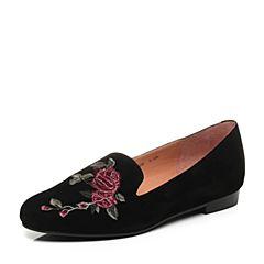 Joy&Peace真美诗2017秋季专柜同款黑色羊绒皮复古刺绣方跟乐福鞋单鞋女ZH325CM7
