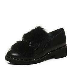 JoyPeace真美诗2017秋季专柜同款黑色方跟粗跟时尚牛皮貂毛舒适女单鞋ZX718CM7