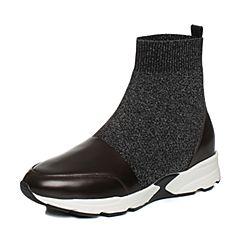 Joy&Peace真美诗2017冬季银黑/啡红色编织布女休闲靴舒适坡跟短靴时尚袜靴ZT621DD7