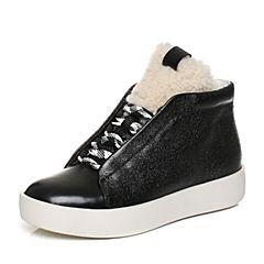 Joy&Peace/真美诗2017冬季专柜同款黑色牛皮松糕平底休闲靴及踝靴女靴子ZZ122DD7