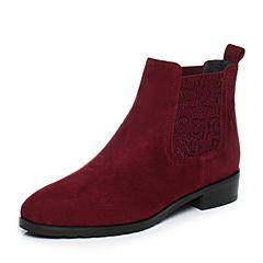 Joy&Peace/真美诗2017冬季专柜同款酒红色羊绒皮女靴子方跟中跟短靴ZN524DD7