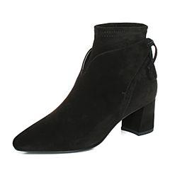 Joy&Peace真美诗2017冬季专柜同款黑色羊绒皮女皮靴粗跟短靴中跟及踝靴YNP22DD7