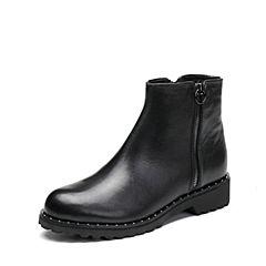 Joy&Peace/真美诗2017冬季专柜同款黑色(毛里)牛皮女皮靴子方跟短靴ZNX59DD7