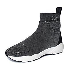 Joy&Peace/真美诗2017冬季专柜同款黑色休闲针织女鞋短筒靴时尚袜靴73131DD7
