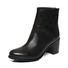 Joy&Peace/真美诗2017冬季专柜同款黑色打蜡牛皮粗跟高跟短靴女靴子ZWZ55DD7