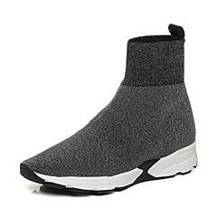 Joy&Peace/真美诗2017冬季专柜同款银/黑色编织布女休闲短靴袜靴ZT625DD7