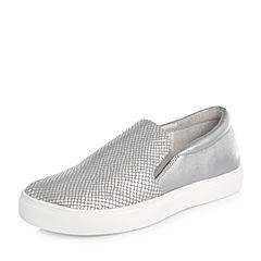 Joy&Peace/真美诗2018春季专柜同款银色贴膜绵羊皮女休闲运动风单鞋乐福鞋ZW742AM8