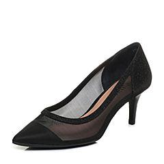 Joy&Peace/真美诗2018春季专柜同款黑色网布女鞋透气网状浅口单鞋YOS06AQ8