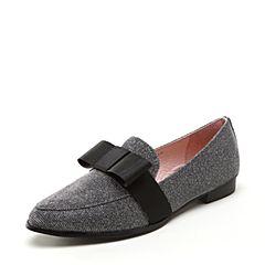 Joy&Peace/真美诗2018春季专柜同款银灰色亮线布深口单鞋女鞋YOX01AM8