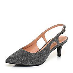Joy&Peace/真美诗2018春季专柜同款银灰/深灰色亮线布皮拼接女凉鞋ZG125AH8(领红包更优惠)