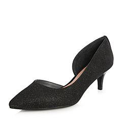 Joy&Peace/真美诗2018春季专柜同款黑色亮线布女鞋侧空浅口单鞋ZH495AQ8