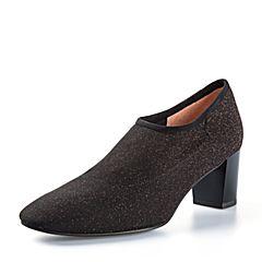 Joy&Peace/真美诗2018春季专柜同款黑红色时尚弹力布粗跟女鞋单鞋YOM01AM8