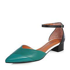 Joy&Peace/真美诗2018春季专柜同款绿/黑色一字带粗跟中空凉鞋女ZR774AK8