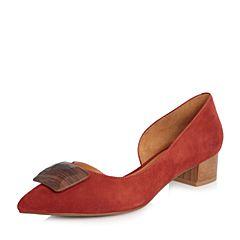 Joy&Peace/真美诗2018春季专柜同款红色羊绒皮侧空粗跟中跟单鞋女鞋ZR788AQ8