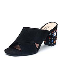 Joy&Peace/真美诗2018夏季专柜同款黑色羊绒皮革刺绣粗跟高跟女凉鞋拖鞋YOI13BT8