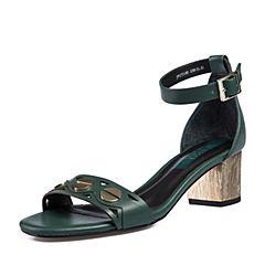 Joy&Peace/真美诗2018夏季专柜同款绿色牛皮革粗跟中跟女一字带凉鞋ZT150BL8