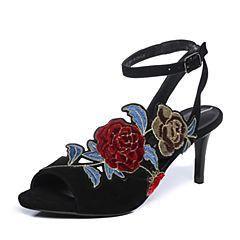 Joy&Peace/真美诗2018夏季专柜同款黑色羊绒皮复古刺绣女细跟凉鞋ZI278BL8