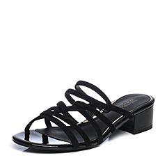 Joy&Peace/真美诗2018夏季专柜同款黑色羊绒皮粗跟中跟女凉鞋凉拖ZC908BT8