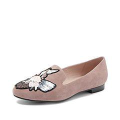 Joy&Peace/真美诗2018秋新款羊绒皮时尚俏皮深口女单鞋ZH328CM8