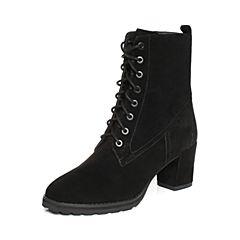 JoyPeace真美诗冬季羊绒皮绑带皮靴中靴粗跟女靴YNX35DZ8