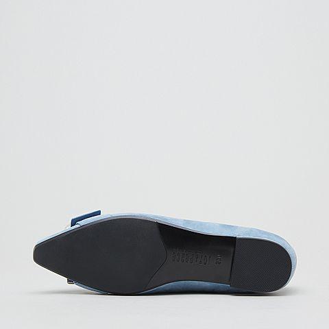 金属头尖头羊皮单鞋