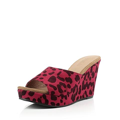 拼色 鞋跟形状: 坡跟松糕厚底 Ь: 其他皮质 流行元素: 印花糖果色防
