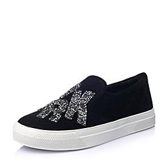 Millies/妙丽春季专柜同款黑色羊绒皮女鞋LWU12AM5